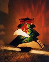 リボンのクリスマスツリーの画像