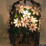 ステンドグラス花籠風ランプ
