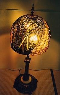 ステンドグラスランプ、竹やぶステンドグラス講師の作品