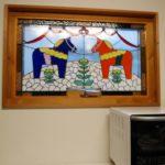 壁飾りスウェーデン馬柄のステンドグラスパネル