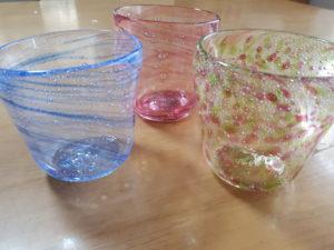 吹きガラス体験3作品