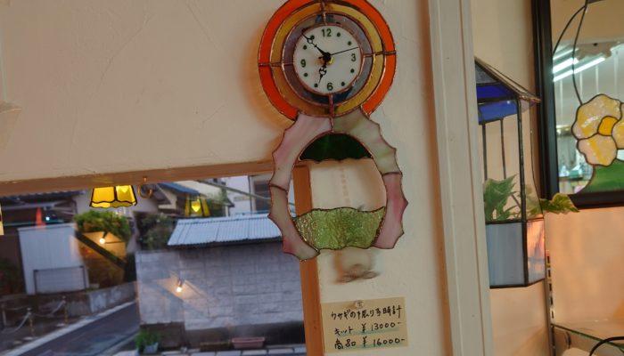 ステンドグラスキットのうさぎの振り子時計