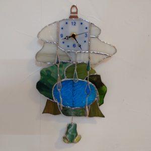 ステンドグラスキットカエルの振り子時計